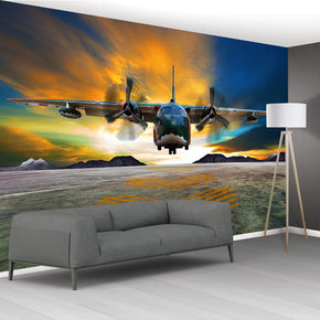 Aircraft Plane Woven Self-Adhesive Removable Wallpaper Modern Mural M186
