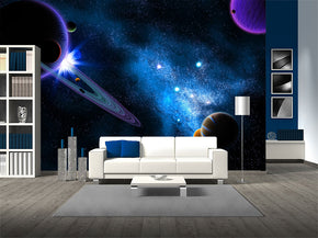 Planets Space Interstellar Woven Self-Adhesive Removable Wallpaper Modern Mural M189