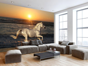 Horse Galloping Sunset Woven Self-Adhesive Removable Wallpaper Modern Mural M190
