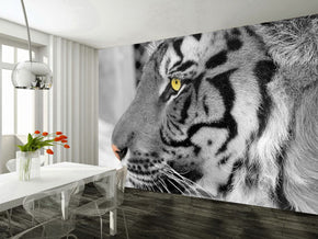 White Tiger Woven Self-Adhesive Removable Wallpaper Modern Mural M193