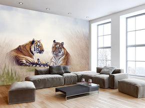 Tigers Woven Self-Adhesive Removable Wallpaper Modern Mural M195