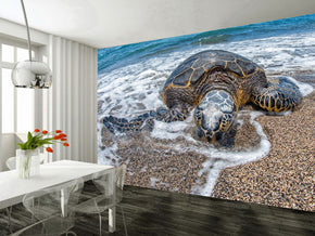 Sea Turtle Woven Self-Adhesive Removable Wallpaper Modern Mural M196