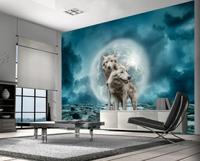 White Wolves Fantasy Woven Self-Adhesive Removable Wallpaper Modern Mural M197