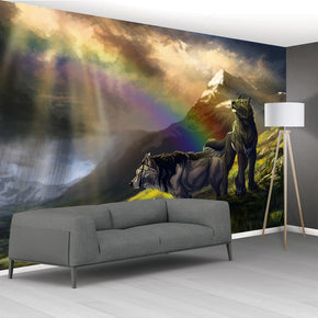 Wolves Fantasy Woven Self-Adhesive Removable Wallpaper Modern Mural M198