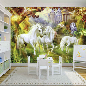 Unicorn Garden Fantasy Woven Self-Adhesive Removable Wallpaper Modern Mural M199