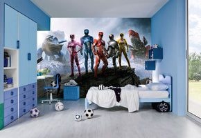 Power Rangers Woven Self-Adhesive Removable Wallpaper Modern Mural M221
