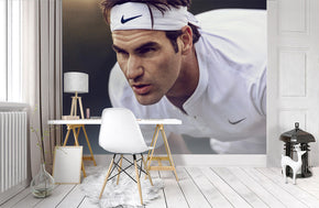 Roger Federer Tennis Woven Self-Adhesive Removable Wallpaper Modern Mural M226