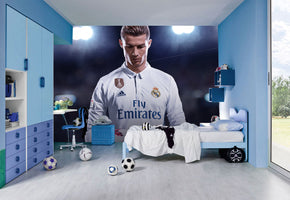 Cristiano Ronaldo Football Woven Self-Adhesive Removable Wallpaper Modern Mural M227