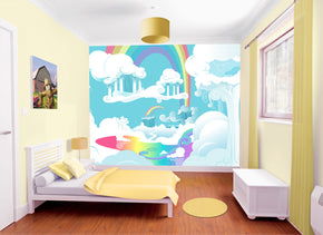 Rainbow Nursery Woven Self-Adhesive Removable Wallpaper Modern Mural M230