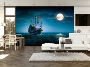 Pirate Ship Full Moon Woven Self-Adhesive Removable Wallpaper Modern Mural M233