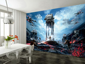 Star Wars Battle Woven Self-Adhesive Removable Wallpaper Modern Mural M235