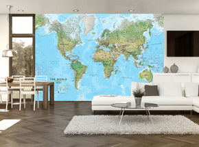 World Map Woven Self-Adhesive Removable Wallpaper Modern Mural M248