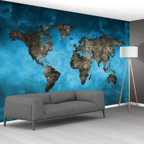 World Map Grahpic Woven Self-Adhesive Removable Wallpaper Modern Mural M249