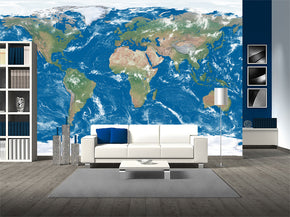 World Map Woven Self-Adhesive Removable Wallpaper Modern Mural M250