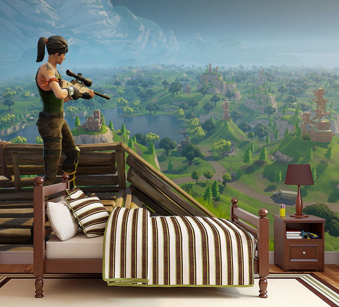 Fortnite Self Adhesive Removable Wallpaper Modern Mural M253 Decalz Co