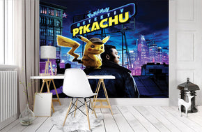 POKEMON DETECTIVE CITY Woven Self-Adhesive Removable Wallpaper Modern Mural M268