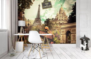 Paris Collage Retro Woven Self-Adhesive Removable Wallpaper Modern Mural M270