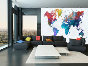 Colored World Map Woven Self-Adhesive Removable Wallpaper Modern Mural M30