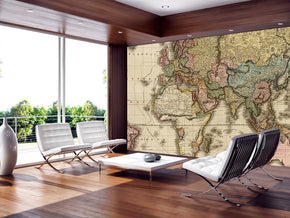 Ancient World Map Woven Self-Adhesive Removable Wallpaper Modern Mural M34