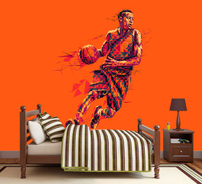 Basketball Player Woven Self-Adhesive Removable Wallpaper Modern Mural M36