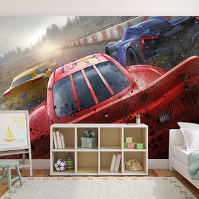 CARS MOVIE Disney Woven Self-Adhesive Removable Wallpaper Modern Mural M49