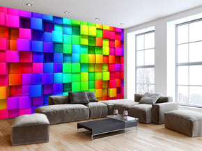 Colorful Blocks Cubes Woven Self-Adhesive Removable Wallpaper Modern Mural M50