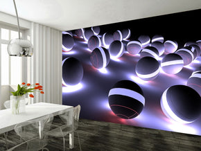 3D Neon Balls Woven Self-Adhesive Removable Wallpaper Modern Mural M65