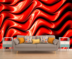 Red Fractal Pattern Woven Self-Adhesive Removable Wallpaper Modern Mural M66