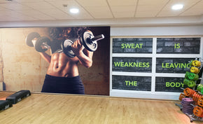 Fitness Gym Weights Workout Woven Self-Adhesive Removable Wallpaper Modern Mural M75
