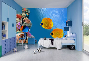 Tropical Fish Coral Reef Ocean Woven Self-Adhesive Removable Wallpaper Modern Mural M76
