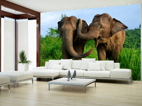 Elephants Woven Self-Adhesive Removable Wallpaper Modern Mural M77
