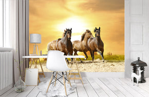 Horses At Sunset Woven Self-Adhesive Removable Wallpaper Modern Mural M99