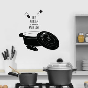 This Kitchen Is Seasoned With Love Inspirational Quotes Wall Sticker Decal SQ128