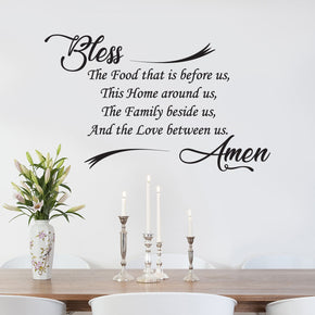 BLESS THE FOOD Inspirational Quotes Wall Sticker Decal SQ180
