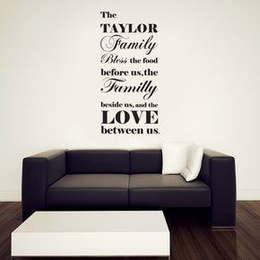 BLESS THE FOOD Personalized Inspirational Quotes Wall Sticker Kitchen Decal SQ205
