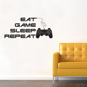 EAT GAME SLEEP REPEAT Inspirational Quotes Wall Sticker Decal SQ220