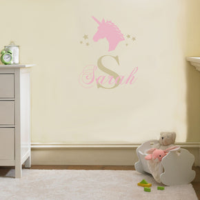 Personalized Unicorn Name  Wall Sticker Decal Stencil Silhouette SQ224
