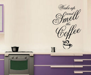 WAKE UP & SMELL THE COFFEE Inspirational Quotes Wall Sticker Decal SQ51