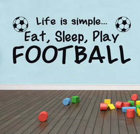 EAT SLEEP PLAY FOOTBALL Inspirational Quotes Wall Sticker Decal SQ54