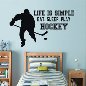EAT SLEEP PLAY HOCKEY Inspirational Quotes Wall Sticker Decal SQ55