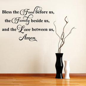 BLESS THE FOOD Inspirational Quotes Wall Sticker Decal SQ70