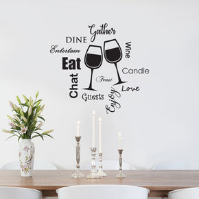 Kitchen EAT DINE LOVE WINE Inspirational Quotes Wall Sticker Decal SQ99
