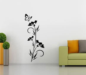 Flowers & Butterfly Wall Sticker Decal Stencil Silhouette ST108