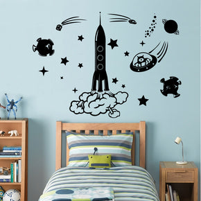 Space Rocket Wall Sticker Decal Stencil Silhouette ST137