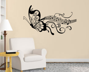Musical Notes Butterfly Wall Sticker Decal Stencil Silhouette ST148