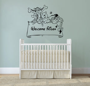 Winnie The Pooh Personalized Wall Sticker Decal Stencil Silhouette ST165