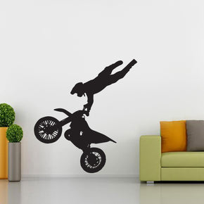 Dirt Bike Stunts Motorcycle Wall Sticker Decal Stencil Silhouette ST173