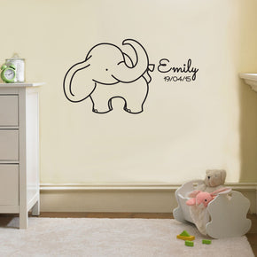 NAME & BIRTH DATE ELEPHANT Personalized Wall Sticker Decal Stencil Silhouette ST234