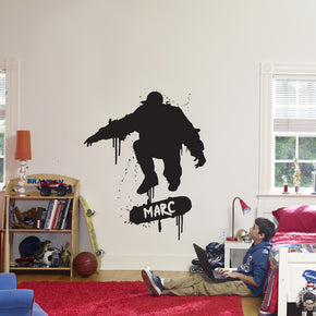 SKATER Skateboard Personalized Wall Sticker Decal Stencil Silhouette ST249