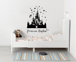 Princess Castle Personalized Wall Sticker Decal Stencil Silhouette ST289